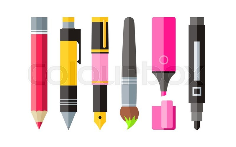 800x500 Painting Tools Pen Pencil Marker Flat Design. Painting