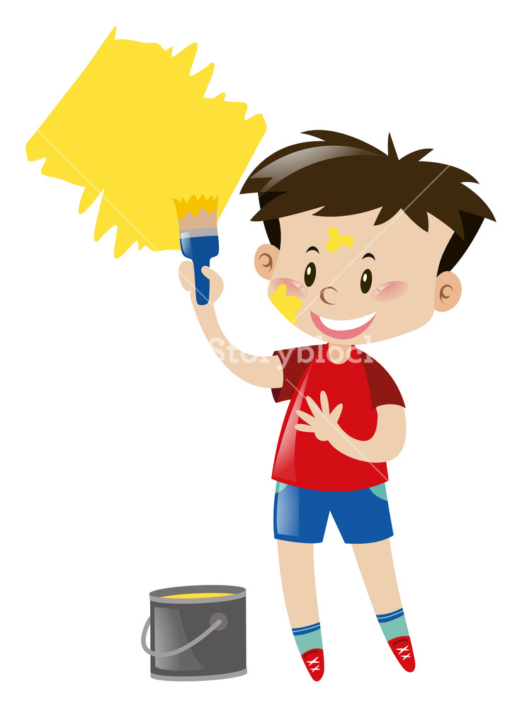 737x1000 Boy With Paintbrush And Yellow Paint Illustration Royalty Free