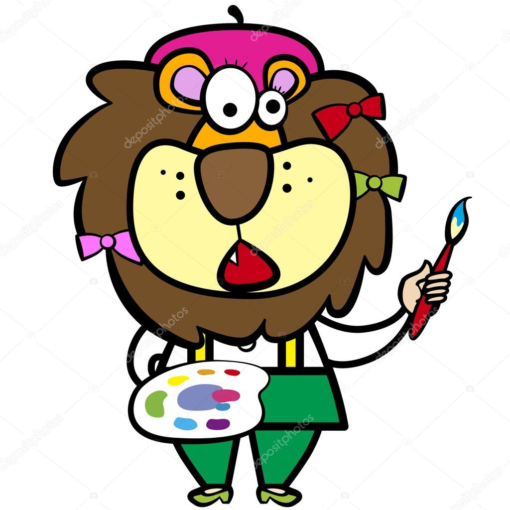 1024x1024 Cartoon Lion Artist With Paintbrush And Palette Stock Vector