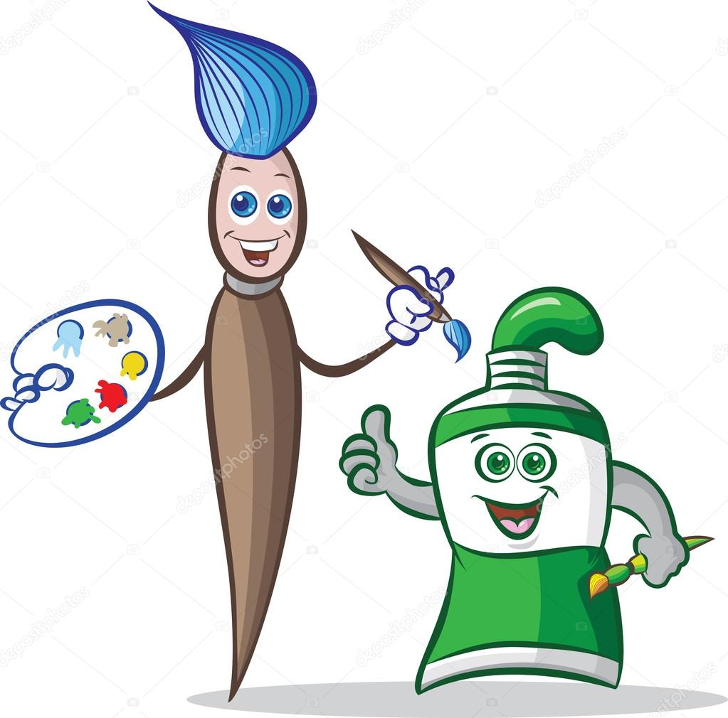 1023x1010 Paint Brush And Paint Tube Mascot Stock Vector Mahmuttibet