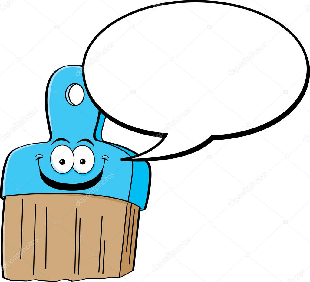 1024x933 Cartoon Paintbrush With A Caption Balloon Stock Vector