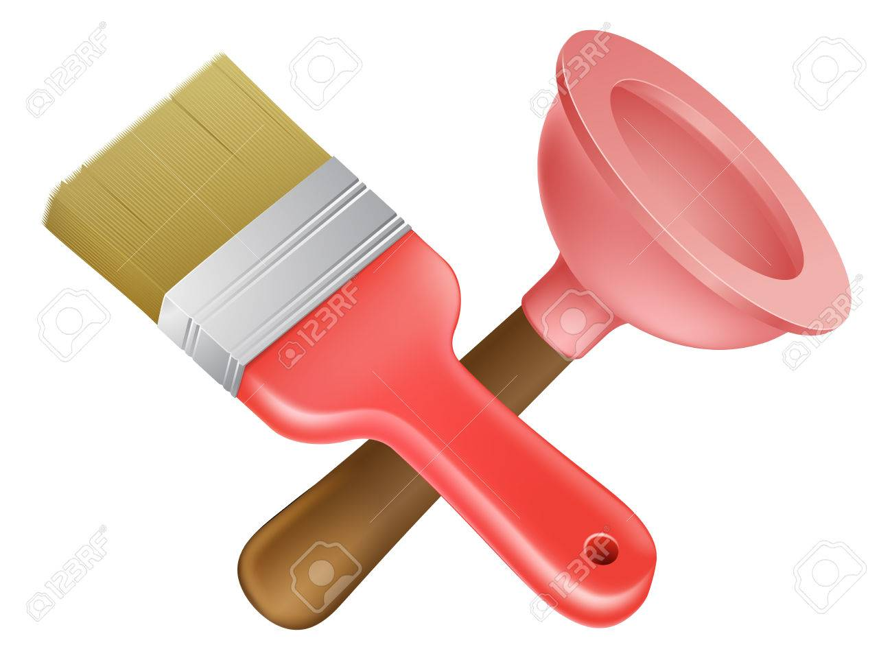 1300x962 Crossed Plunger And Paintbrush Tools Icon Of Cartoon Tools Crossed