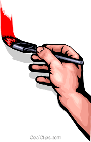 308x480 Hand With A Paintbrush Royalty Free Vector Clip Art Illustration