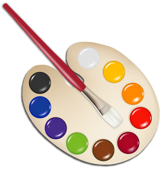 585x600 Palette With Paint Brush Png Image Graphics Crafty
