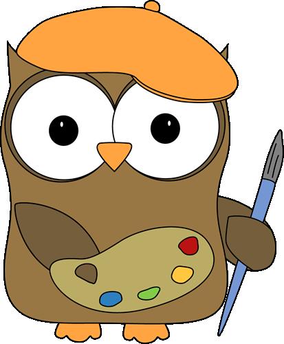 413x500 Owl French Artist Painter Clip Art