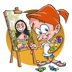 300x300 Royalty Free Cartoon Painter 390706 Vector Clip Art Image
