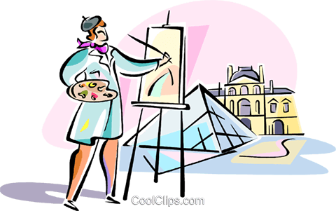 480x301 Artist Painting Louvre, Paris Royalty Free Vector Clip Art