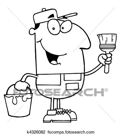 423x470 Clipart Of Outlined House Painter K4326082
