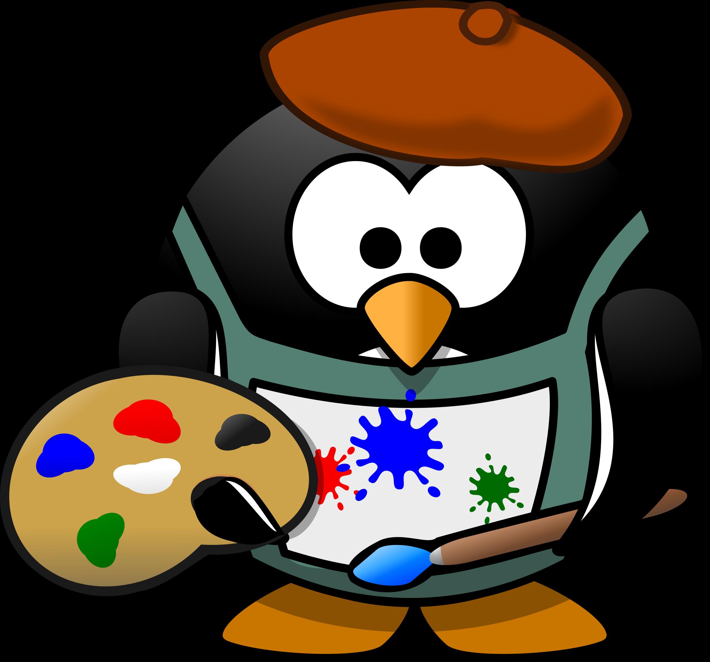 2400x2240 Clipart Painter Penguin
