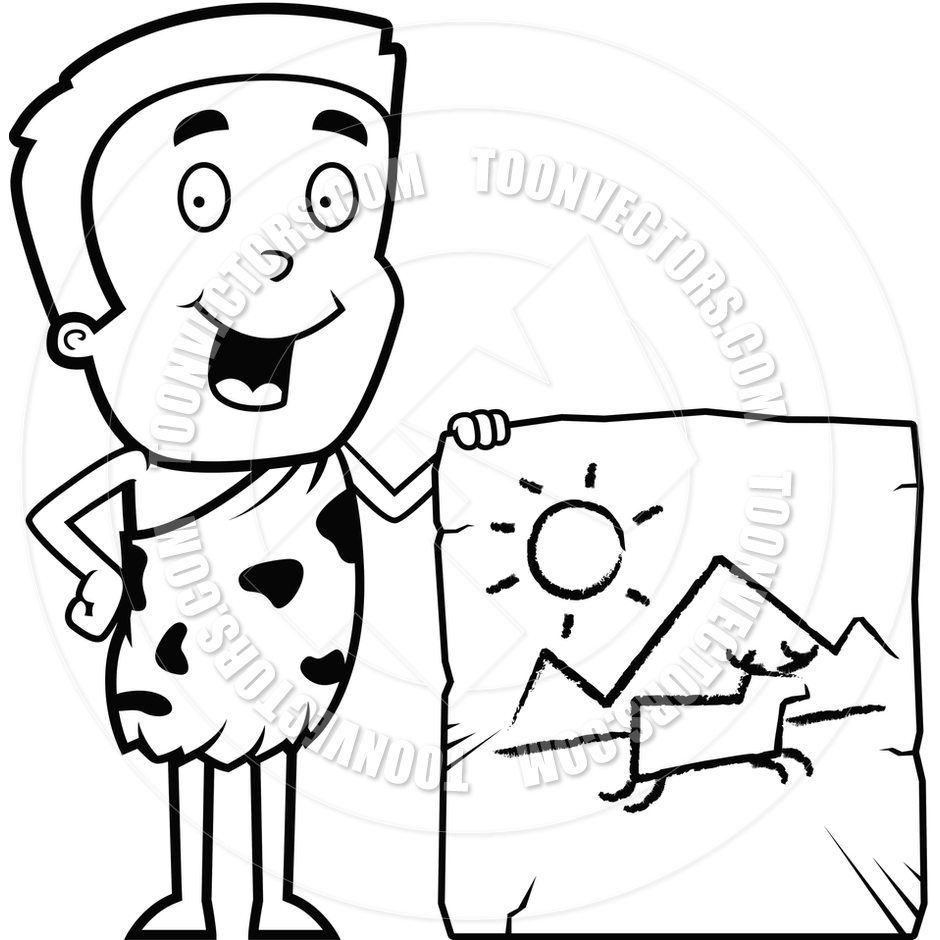 940x940 Cartoon Cave Painting (Black And White Line Art) By Cory Thoman