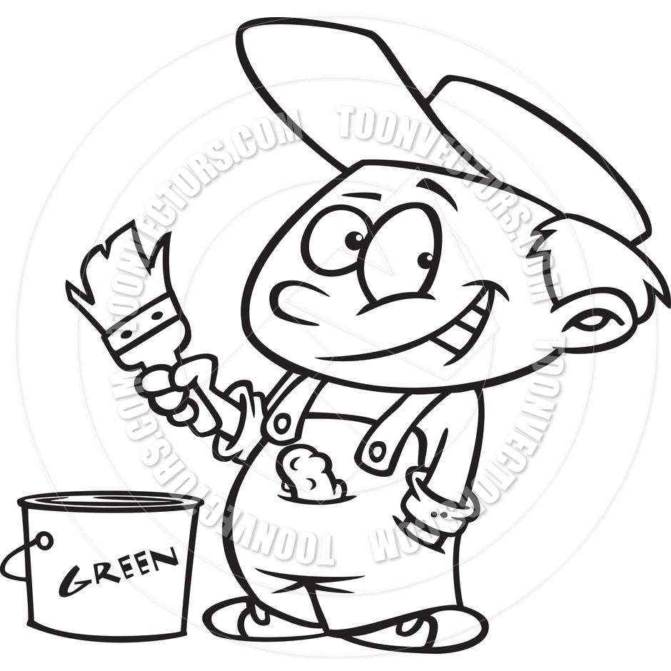 940x940 Cartoon House Painter Boy (Black And White Line Art) By Ron