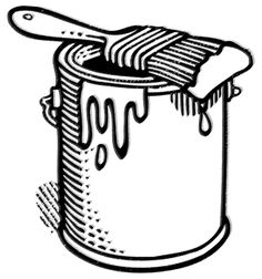 236x252 Free Clipart Black White Paint Can