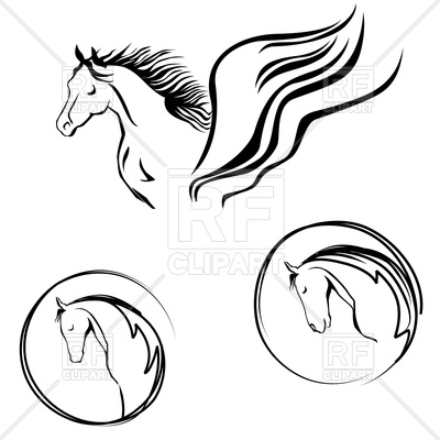 400x400 Horse Head Painting Royalty Free Vector Clip Art Image