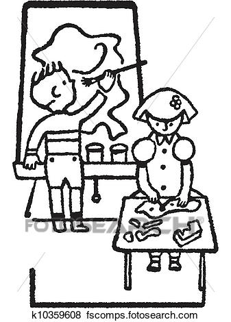 337x470 Stock Illustration Of Two Black And White Version Of A Children