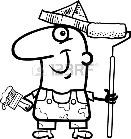 423x450 Black And White Cartoon Illustration Of Funny House Painter Worker