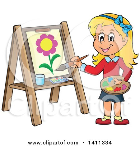450x470 Clipart Of A Cartoon Caucasian Girl Painting A Flower On Canvas