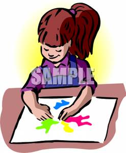 247x300 Girl Finger Painting A Picture Clipart Picture