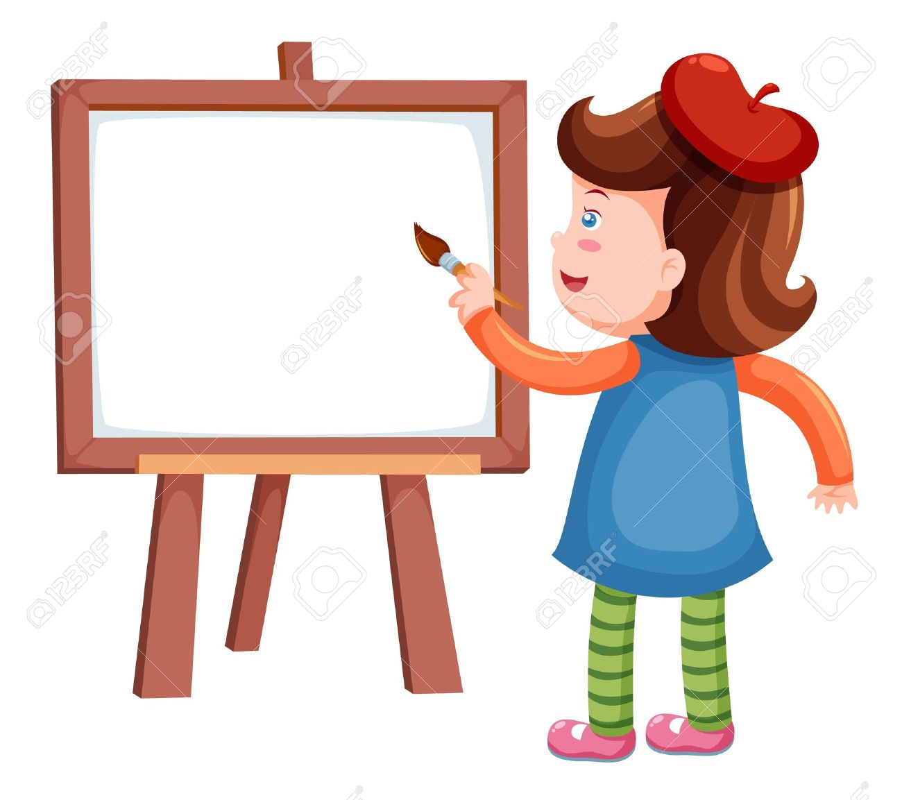 1300x1153 Girl Painting A Picture Clipart Collection