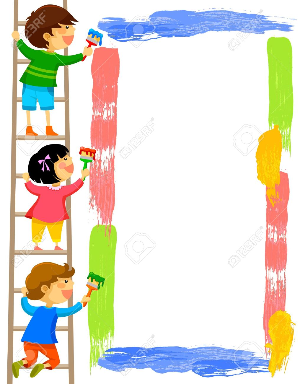 1016x1300 Kids Standing On A Ladder And Painting A Colorful Frame Royalty