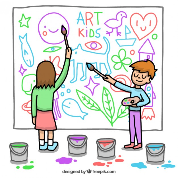 626x626 Kids Painting A Mural Vector Free Download