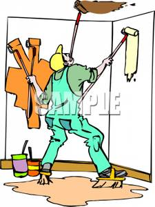 225x300 Man Painting The Room With Four Rollers Clipart Image