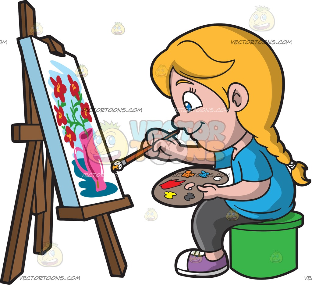 1024x935 A Girl Painting A Still Life Image Cartoon Clipart