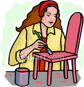 291x300 Woman Painting A Small Chair Pink
