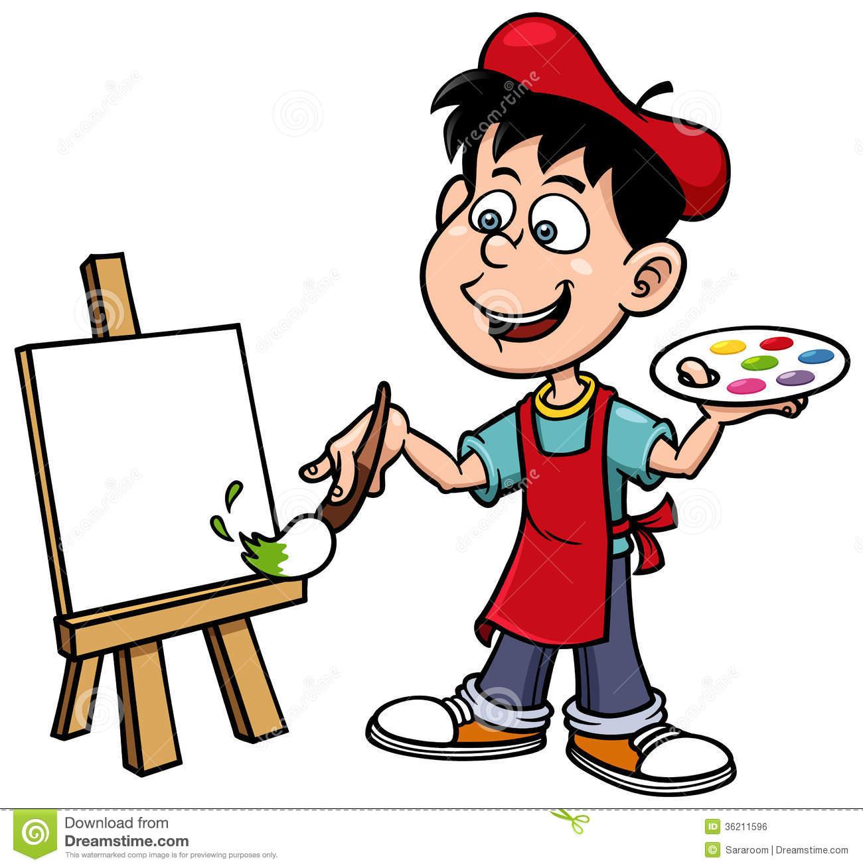 1300x1309 Artist Clipart 1247728 Clipart Of A Girl Artist Painting A Canvas