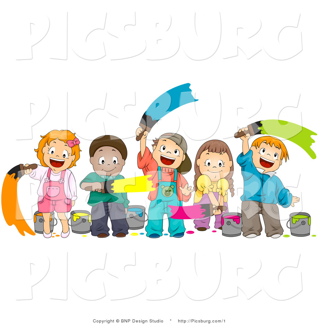 1024x1044 Clip Art Of A Happy Group Of Diverse Kids Painting With Paint