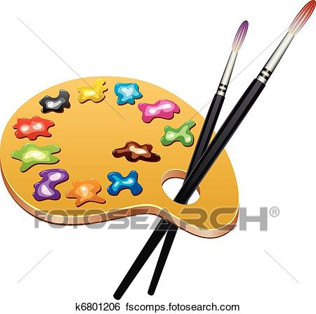 450x447 Clip Art Of Vector Wooden Art Palette With Blobs Of Paint