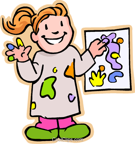 451x480 Girl Artist Showing Painting Royalty Free Vector Clip Art