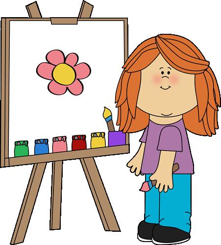 451x500 Girl Painting On Easel Clip Art