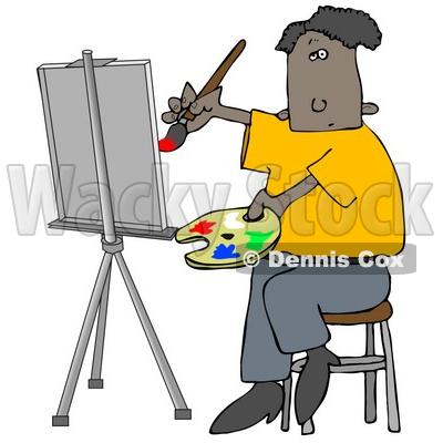 400x400 Clipart Illustration Image Ofn Black Malertist Sitting On