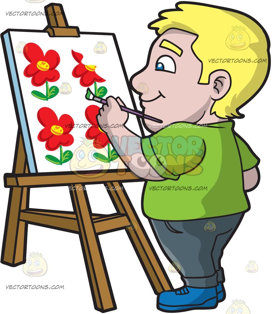 892x1024 A Chubby Man Painting Flower Art On Canvas Cartoon Clipart