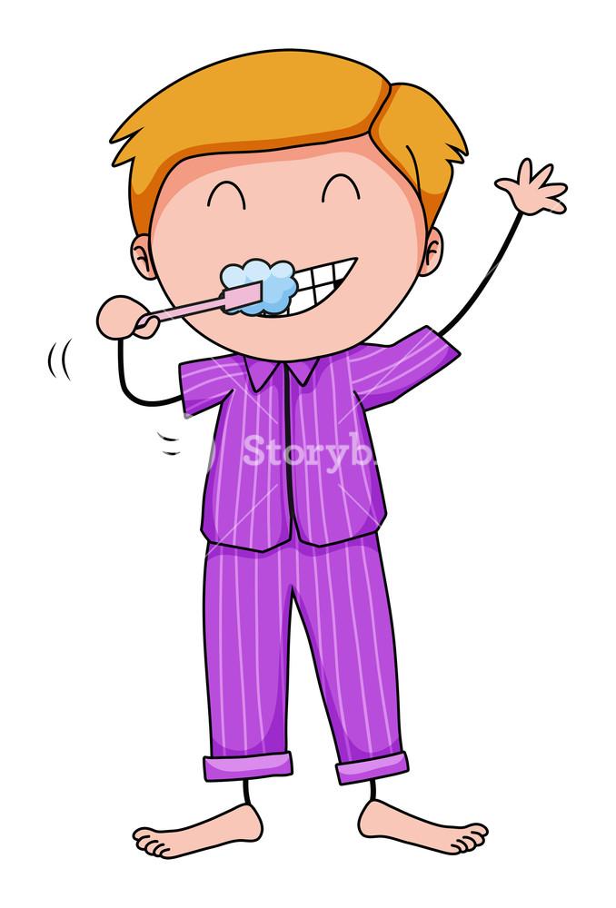 678x1000 Closeup Man In His Pajamas Brushing Teeth Royalty Free Stock Image
