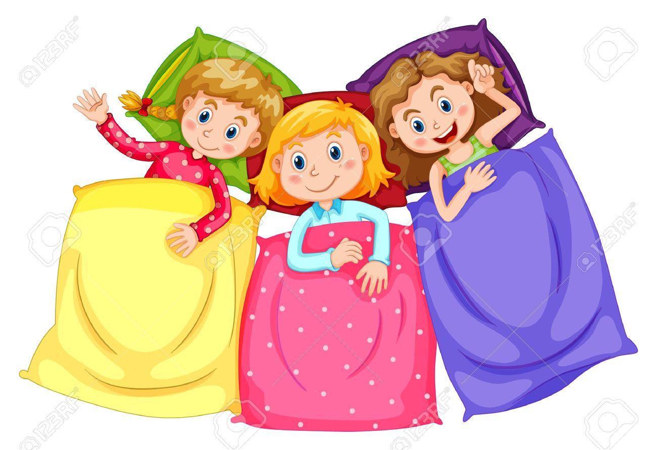 1300x890 Girls In Pajamas At Slumber Party Illustration Royalty Free
