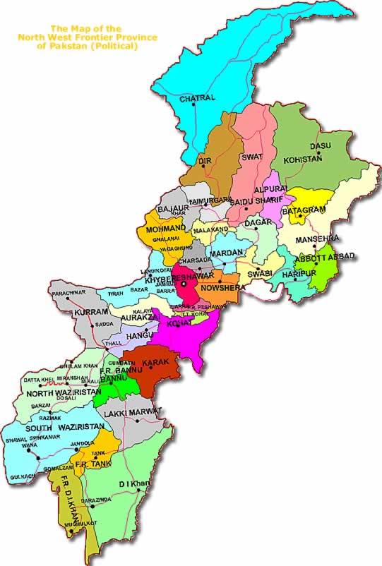 541x802 Kpk Khyber Pakhtunkha Districts Map 2 Naksha Naqsha Pakistan
