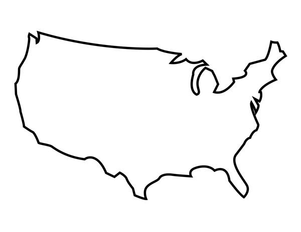 600x464 usa map outline printable