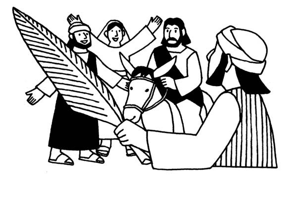 600x400 People Worship Jesus In Jerusalem In Palm Sunday Coloring Page