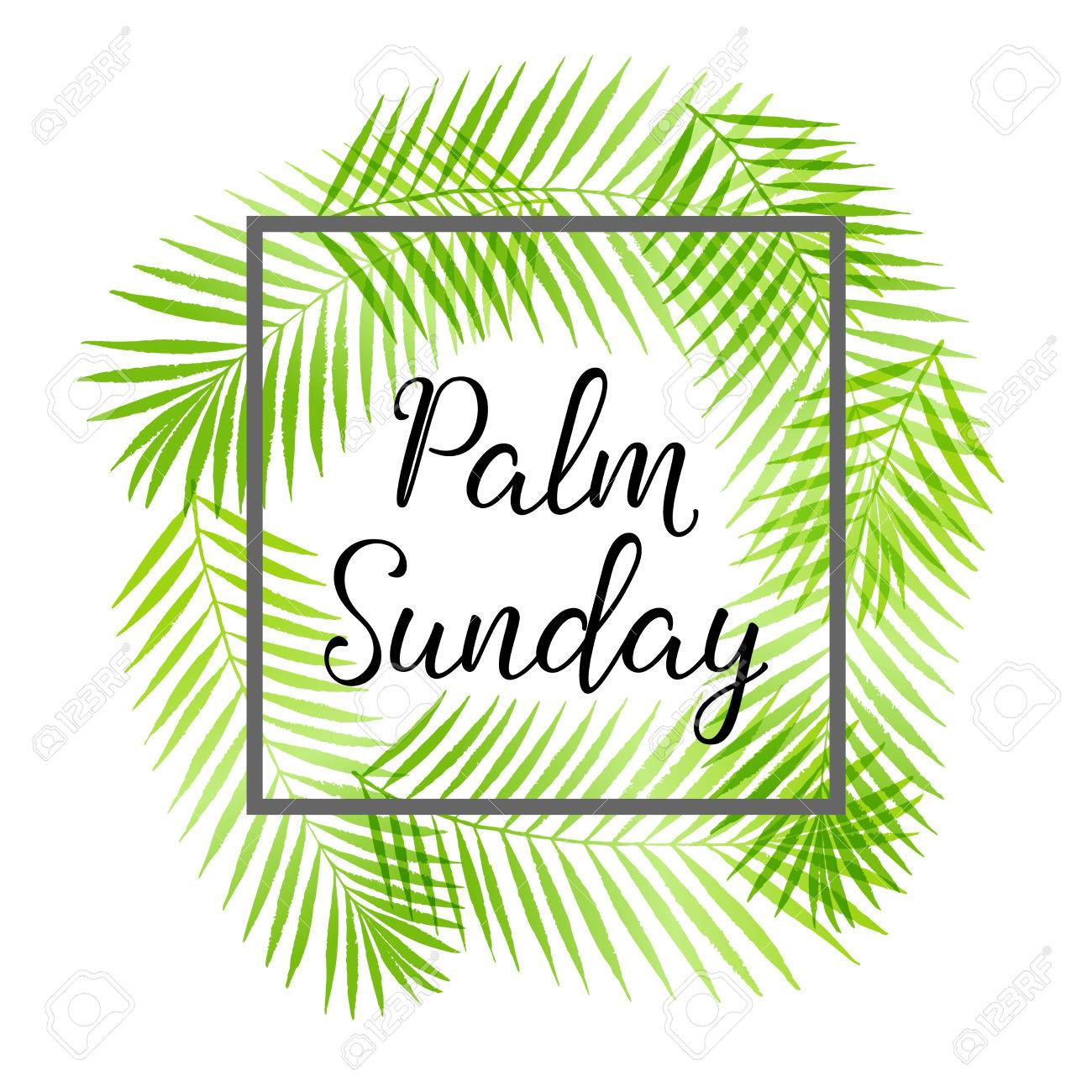 1300x1300 Palm Sunday Holiday Card, Poster With Palm Leaves Border, Frame