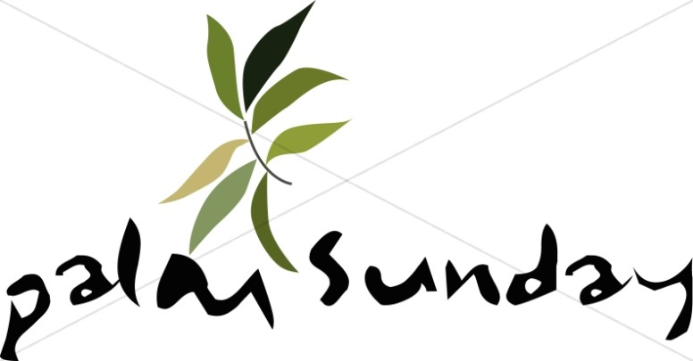 776x405 Palm Sunday With Leaves Lent Word Art