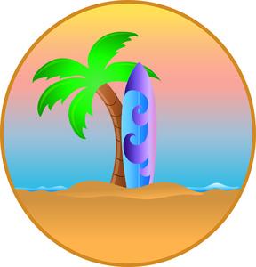 288x300 Hawaiian Palm Trees Cliprt Surfboard Leaninggainst