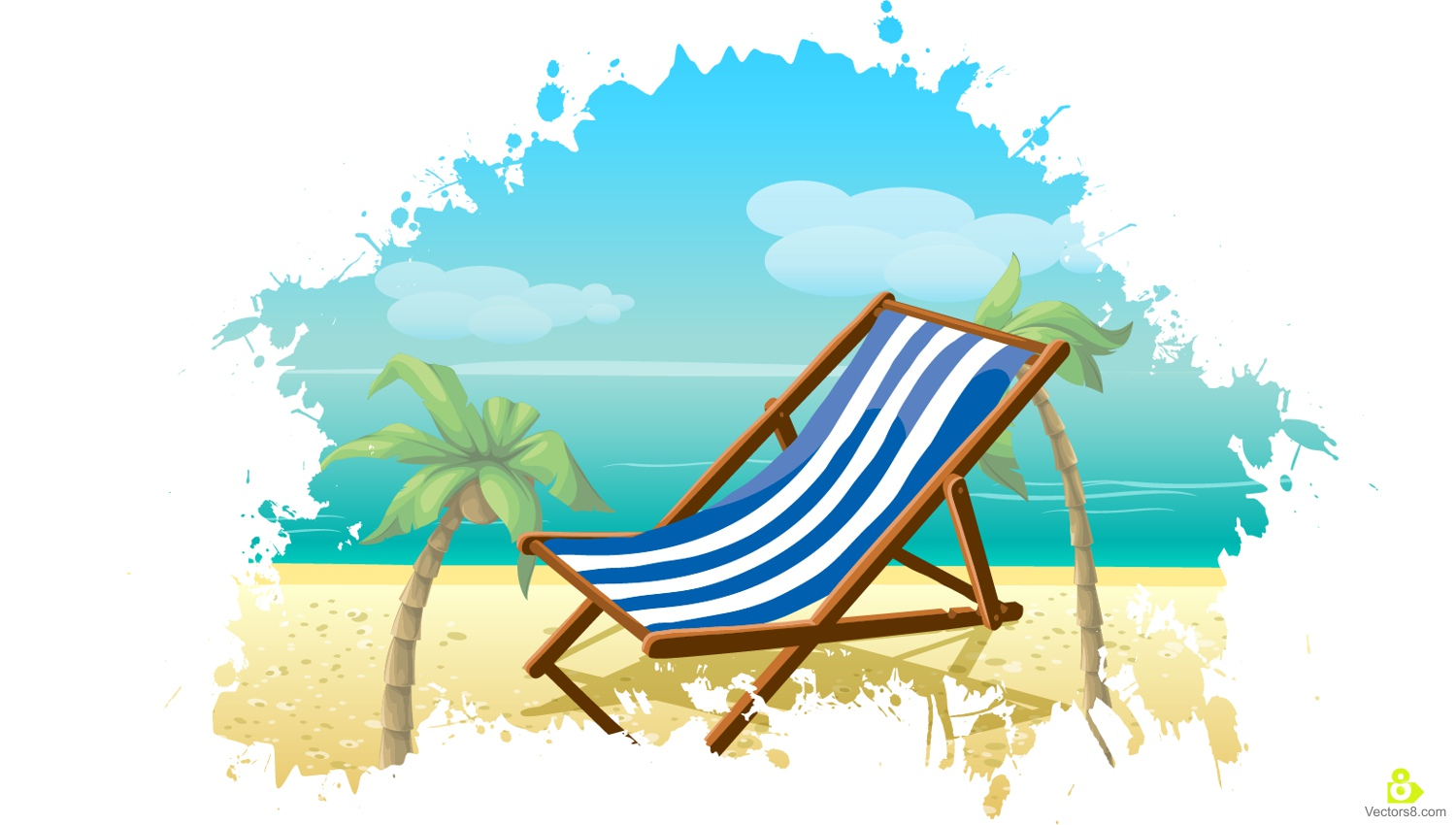 1500x850 Palm Tree And Beach Chair Holiday Free Vector Amp Clipart Design