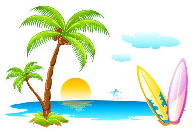 646x452 Seascape Clipart Palm Tree Beach