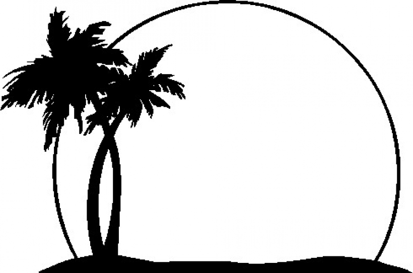 820x542 Black And White Palm Tree Clip Art Clipartscofree Download Png