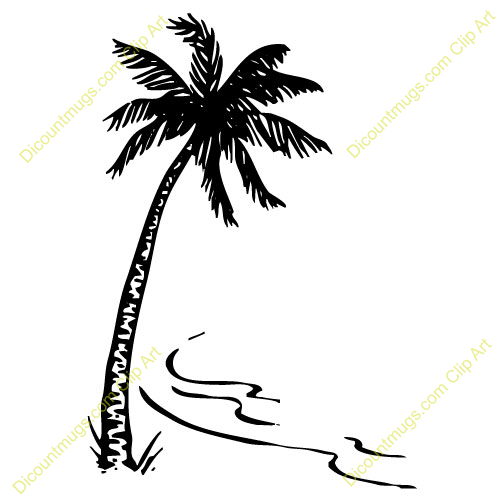 500x500 Coconut Tree Black And White Clipart 32