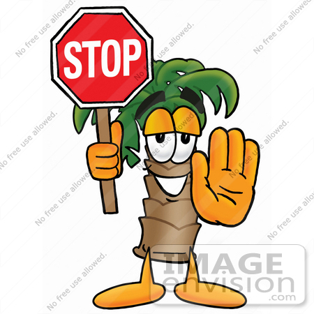 450x450 Clip Art Graphic Of A Tropical Palm Tree Cartoon Character Holding