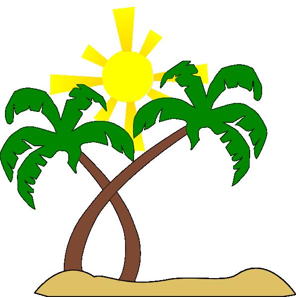 594x597 Double Palm Beach Clip Art