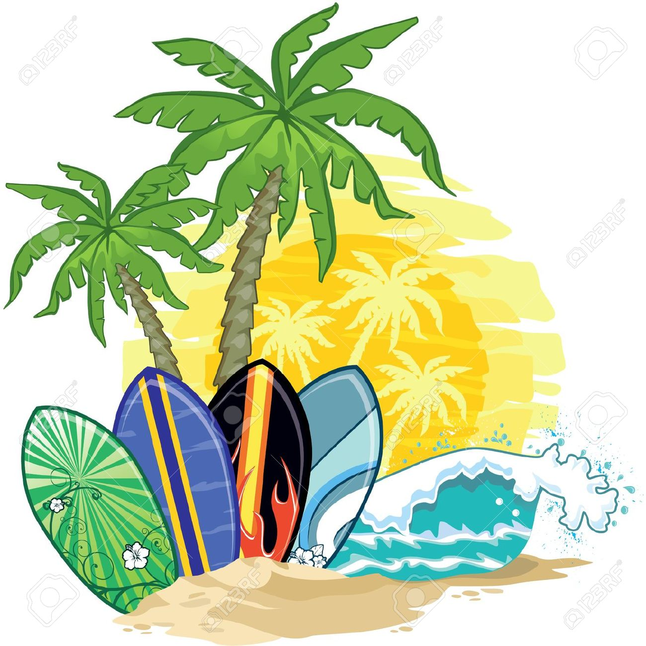 1300x1300 Palm Tree Clipart Surf Board