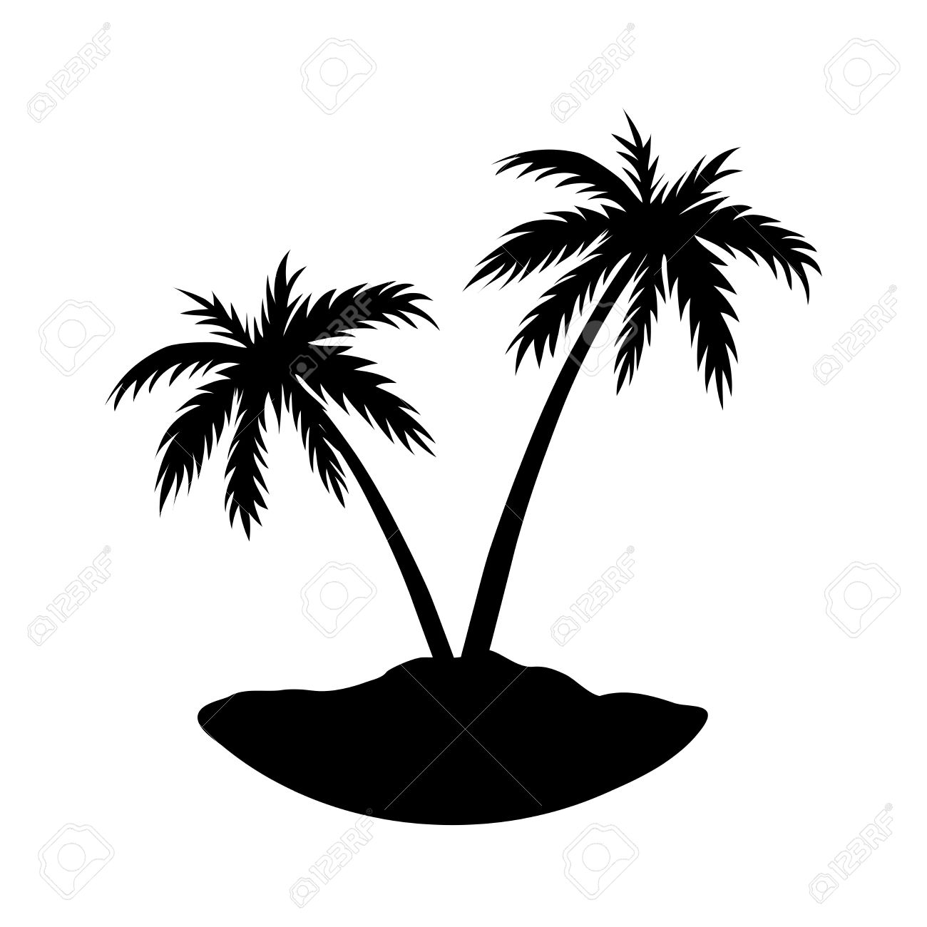 1300x1300 Black Clipart Coconut Tree
